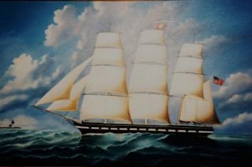artist oil painting19th century sailing vessel