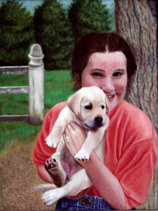 custom artist oil painting a new puppy for becca