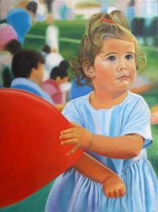 artist oil painting At the Fair Karin Cohen