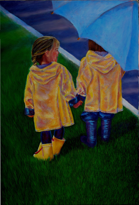 oil painting Friendship Rains Karin Cohen