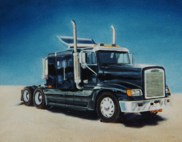 artist-oil painting 18 wheeler truck cab