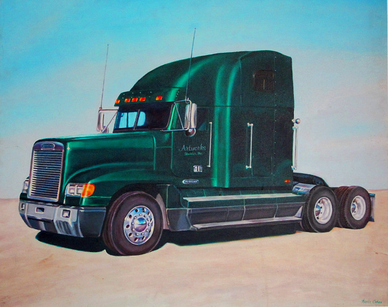 artist oil painting frieghtliner study in metal chrome