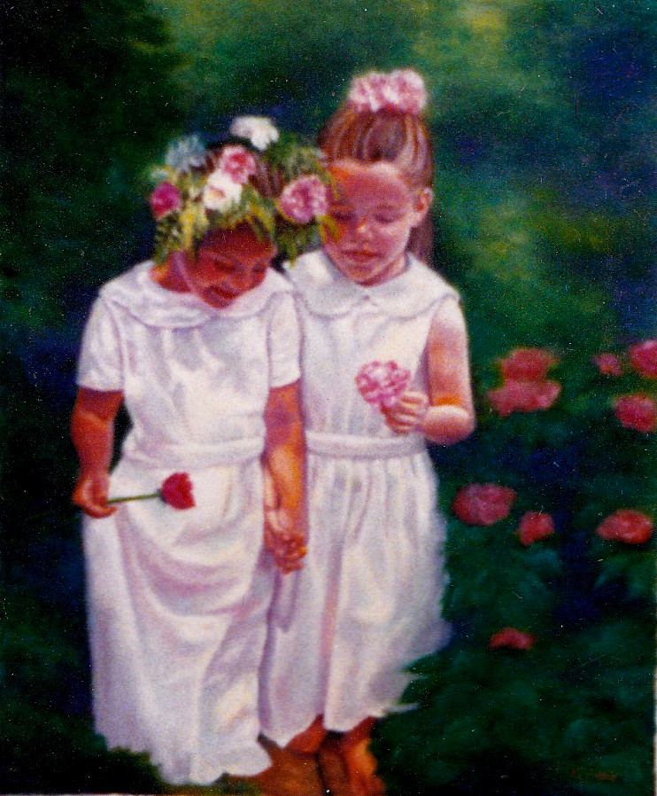 artist oil painting Garden Wedding