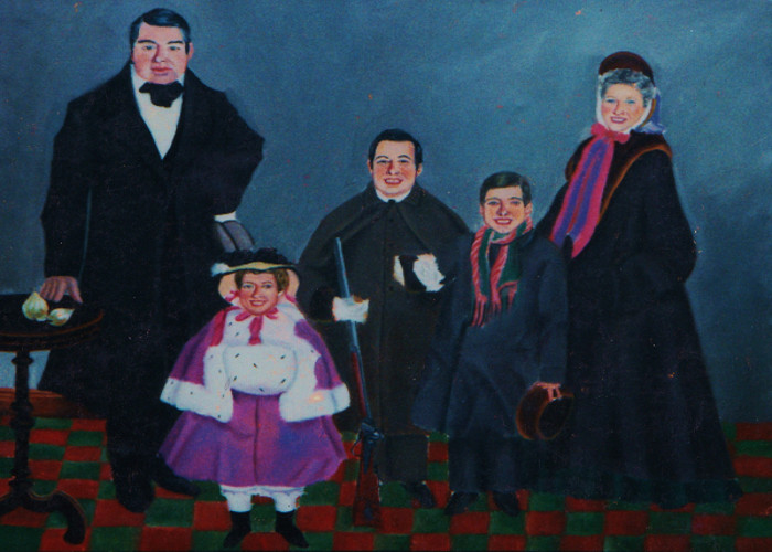artist oil painting folk art family karin cohen