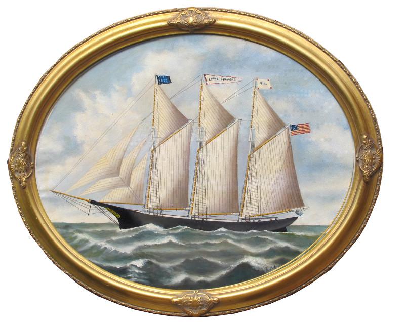 artist oil painting 19th century schooner