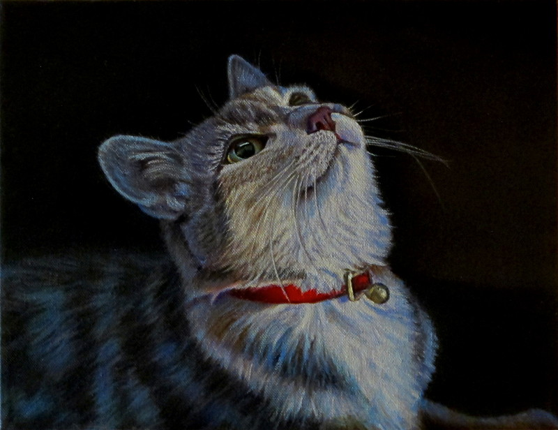 artist oil painting cat wait for it