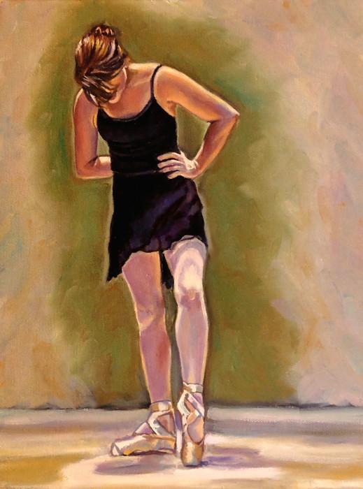 Artist oil painting balance ballet dancer