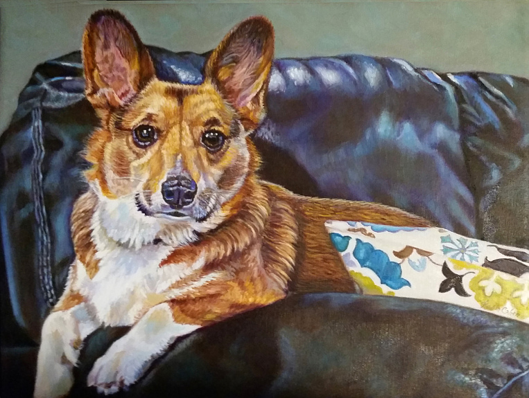 artist oil painting dog commission welsh corgi