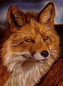 artist oil painting red fox
