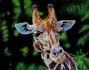 artist oil painting seeing spots giraffe