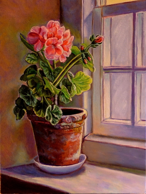 artist oil paintings geranium