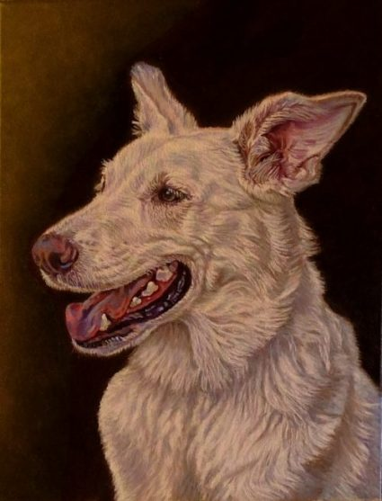 Artist oil painting dog commission karin press cohen