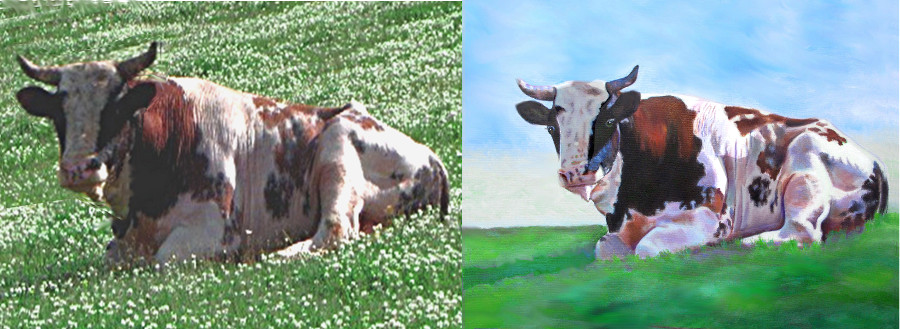 artist oil painting Bo the Bull